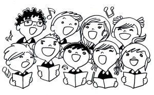 Students singing on an online concert
